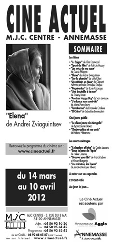 Programme du 14 mars au 10 avril 2012