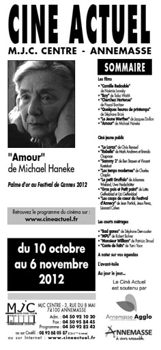 Programme du 10 octobre au 6 novembre 2012