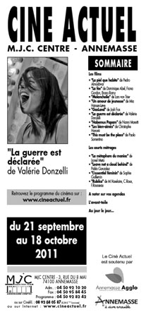 Programme du 21 septembre au 18 octobre 2011