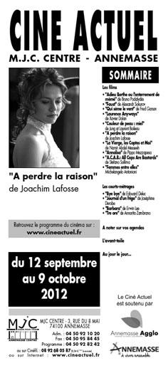 Programme 12 septembre au 9 octobre 2012
