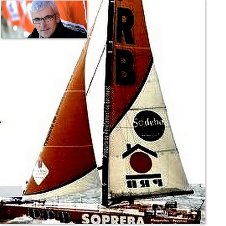 Vendée Globe 2012-2013: Vincent Riou ,contraint à l'abandon coque déchirée,tirant d'outtriger endommagé.
