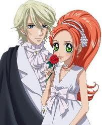 chocolat en robe blanche avec une rose rouge et pierre
