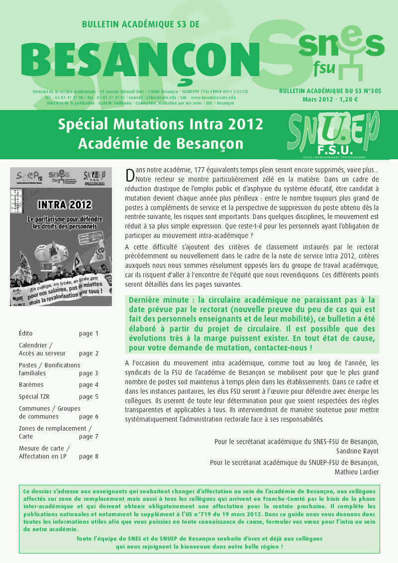 Mutation intra 2012