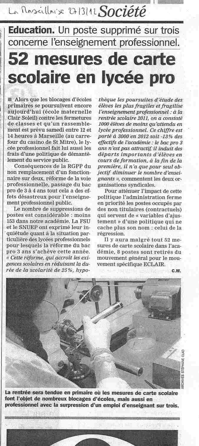 Article de La Marseillaise : un poste supprimé sur 3 concerne l'enseignement pro